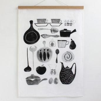 Alma & Co Scandinavian Retro Tea Towel Black on White