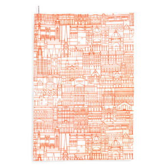 Alma & Co Melbourne Building Tea Towel Fluoro Orange on White