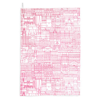 Alma & Co Melbourne Building Tea Towel Fluoro Pink on White