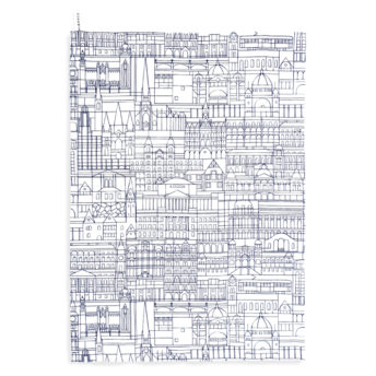 Alma & Co Melbourne Building Tea Towel Navy on White