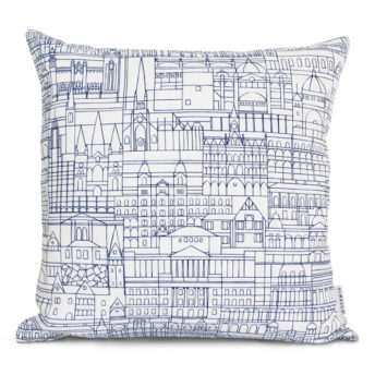 Alma & Co Melbourne Cushion Navy on White