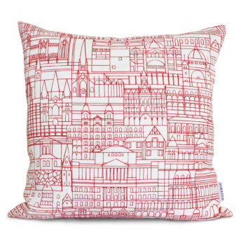 Alma & Co Melbourne Cushion Red on White
