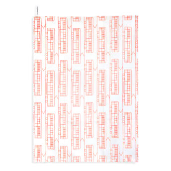 Alma & Co Melbourne Tram Tea Towel Fluoro Orange on White